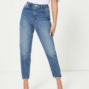 Topshop Moto Cropped Mom Jeans, Mid Blue Wash size 28
